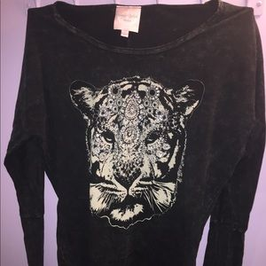 Off-shoulder Gray Sweater with Tiger Design.